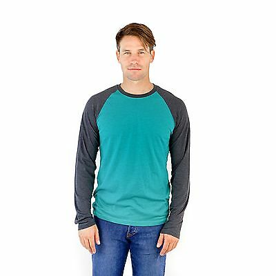 (Long Sleeve Blended Crew Neck Raglan - PimaTee Men's Raglan Shirt)