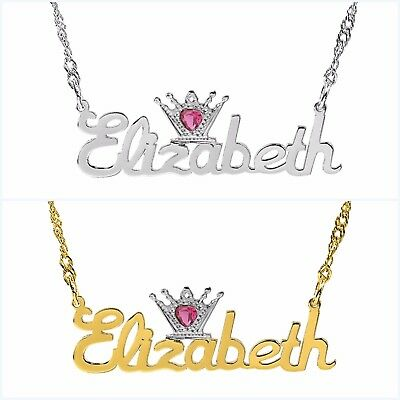 Sterling Silver Name Necklace - Personalized Sterling Silver Any Name Plate Script Necklace w/ Heart Crown Jewel