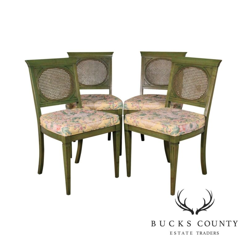 Regency Style Vintage Set 4 Green Cane Back Dining Chairs