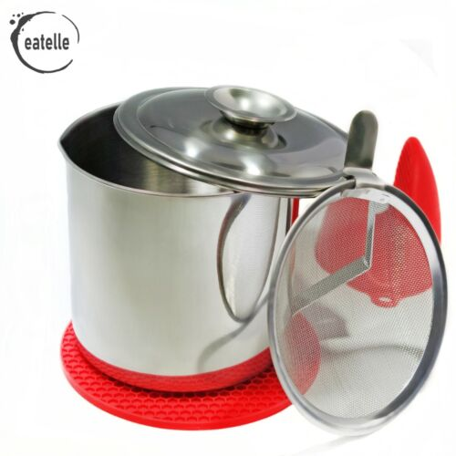 eatelle Stainless Steel Oil Bacon Grease Keeper Container w/ Strainer + GIFT