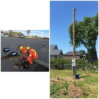HYDRO UTILITY POLES, TEMPORARY HYDRO SERVICE, PARKING LOT LIGHTS
