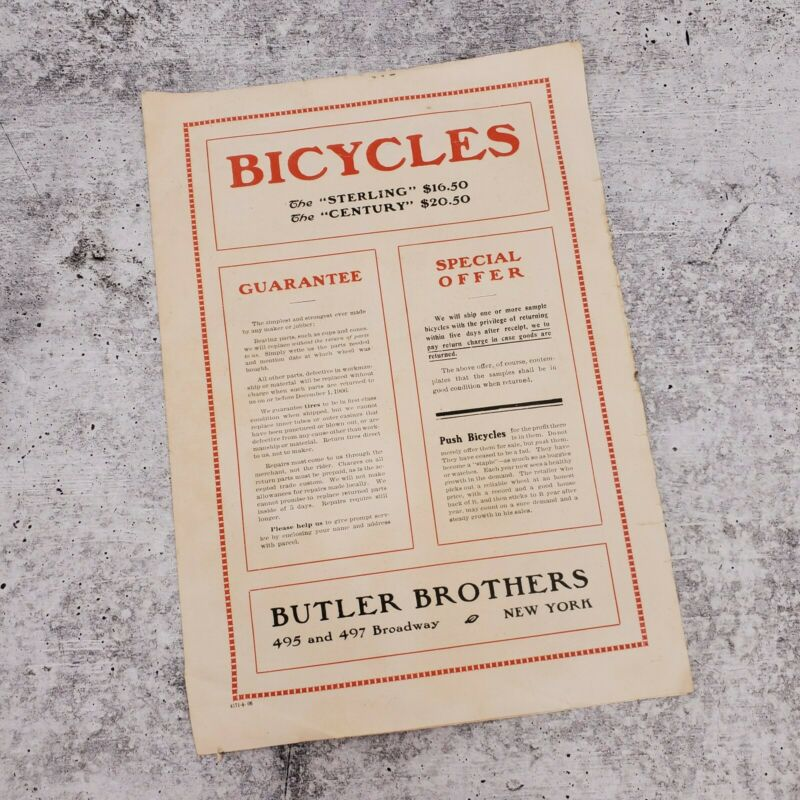 Vintage 1908 Butler Brothers Bicycles Sterling Century Advertisement Ad Flyer