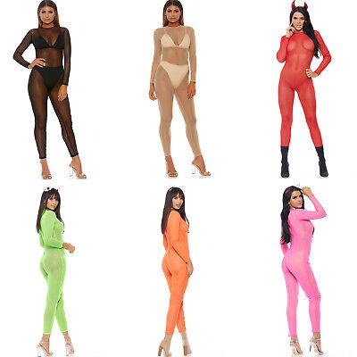 Sheer Long Sleeve Catsuit Zipper Closure Mesh Neon Layering Costume 118704](Long Sleeve Catsuit)