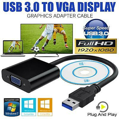 USB 3.0 to VGA Video Display Cable Adapter Lead for Windows 7 8 10 Multi-Display