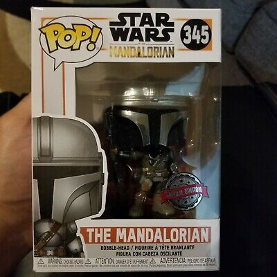 Funko POP! STAR WARS 345 The Mandalorian Chrome Beskar Armor 1st Special Edition