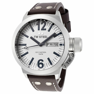 TW Steel CE1005 Men's Canteen 45mm Stainless Steel White Dial Leather Watch