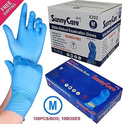 1000 Blue Nitrile Medical Exam Gloves Powder Free (Non Vinyl Latex) Size: MEDIUM