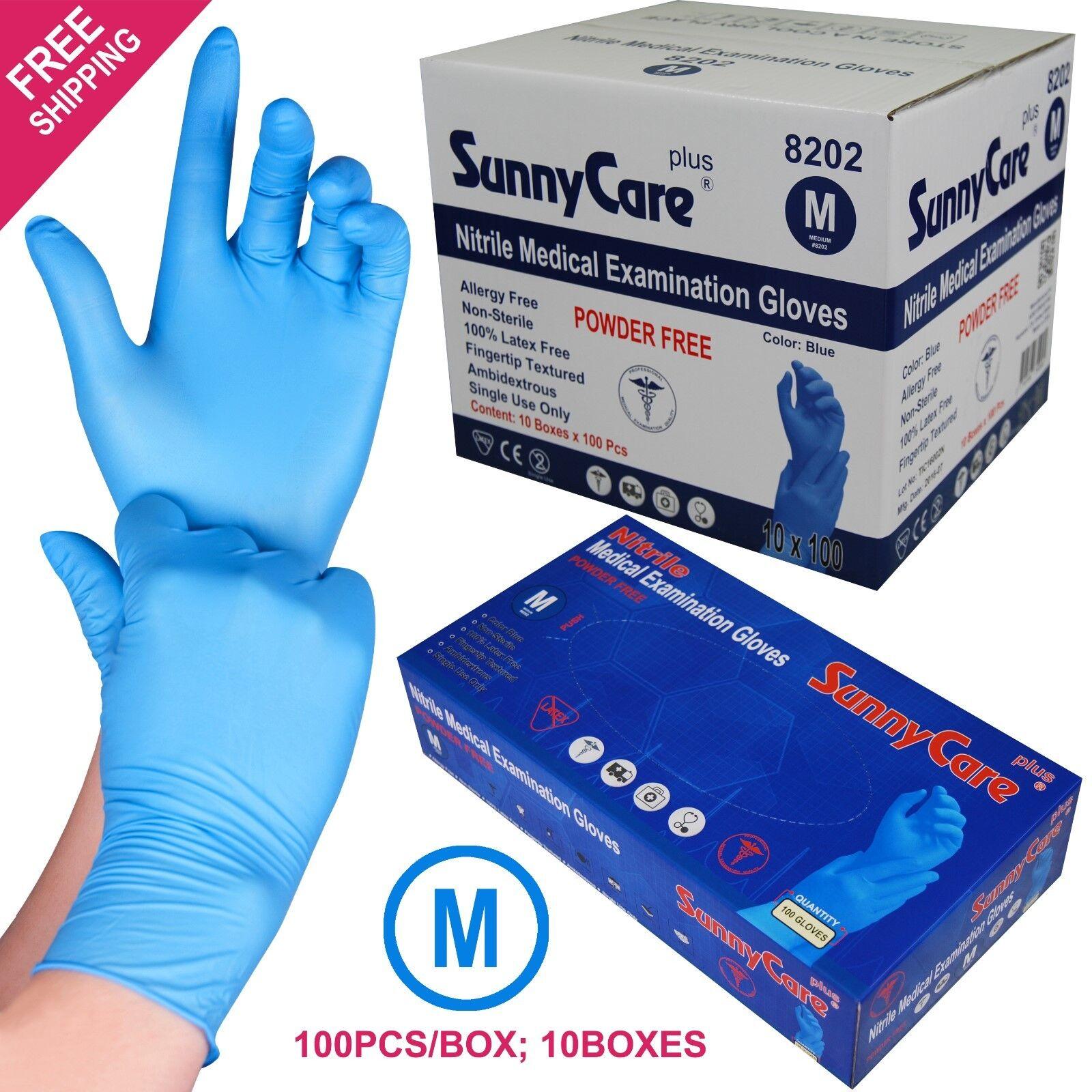 1000 Blue Nitrile Medical Exam Gloves Powder Free (Non Vinyl Latex) Size: MEDIUM