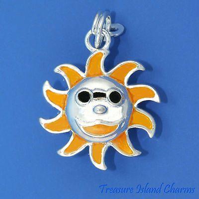 Emaille Sonne Gesicht mit Sonnenbrille .925 Solid Sterling Silver Charm Anhänger