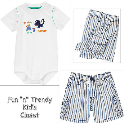 NWT Gymboree LITTLE SKUNK Boys Size 3 6 12 Months Bodysuit & Shorts OUTFIT SET