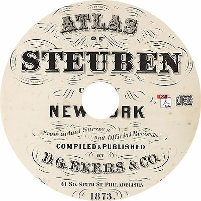 1873 Atlas & Plat Maps of Steuben County, New York NY - 52 Maps on CD