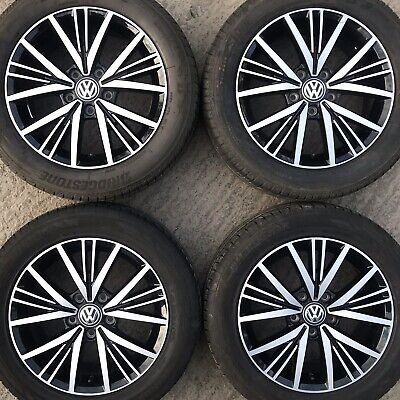 "Genuine VW Golf Mk7 Linas 16"" Alloy Wheels Tyres 205 55 Caddy 15 spoke Polished"