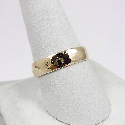 Solid 14K Yellow Gold Handmade 5mm Hammer Texture Band Ring, Sizes 3 - 12 5mm Hammered Band Ring