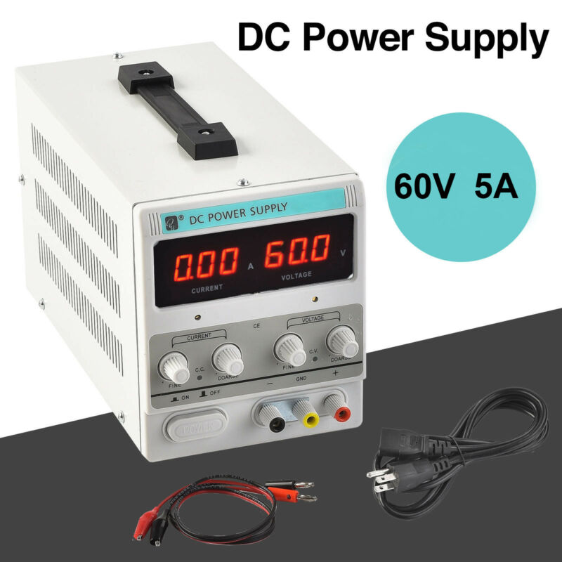 60V 5A DC Power Supply Adjustable Line Variable Digital Test Lab Grade Cable