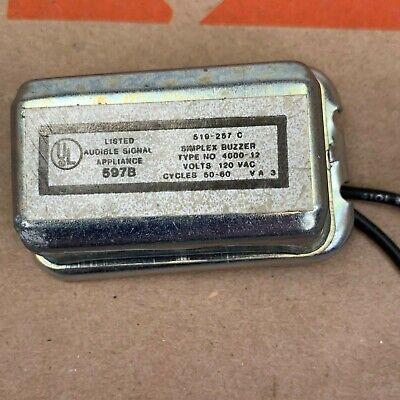 Simplex Small Buzzer 4000-12 120 Vac 50-60 Hz 597b For Appliances