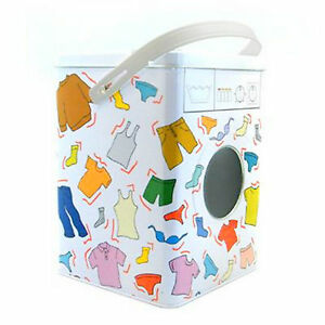 New Decorative Laundry Machine Shaped Detergent Washing Powder Storage Tin Box