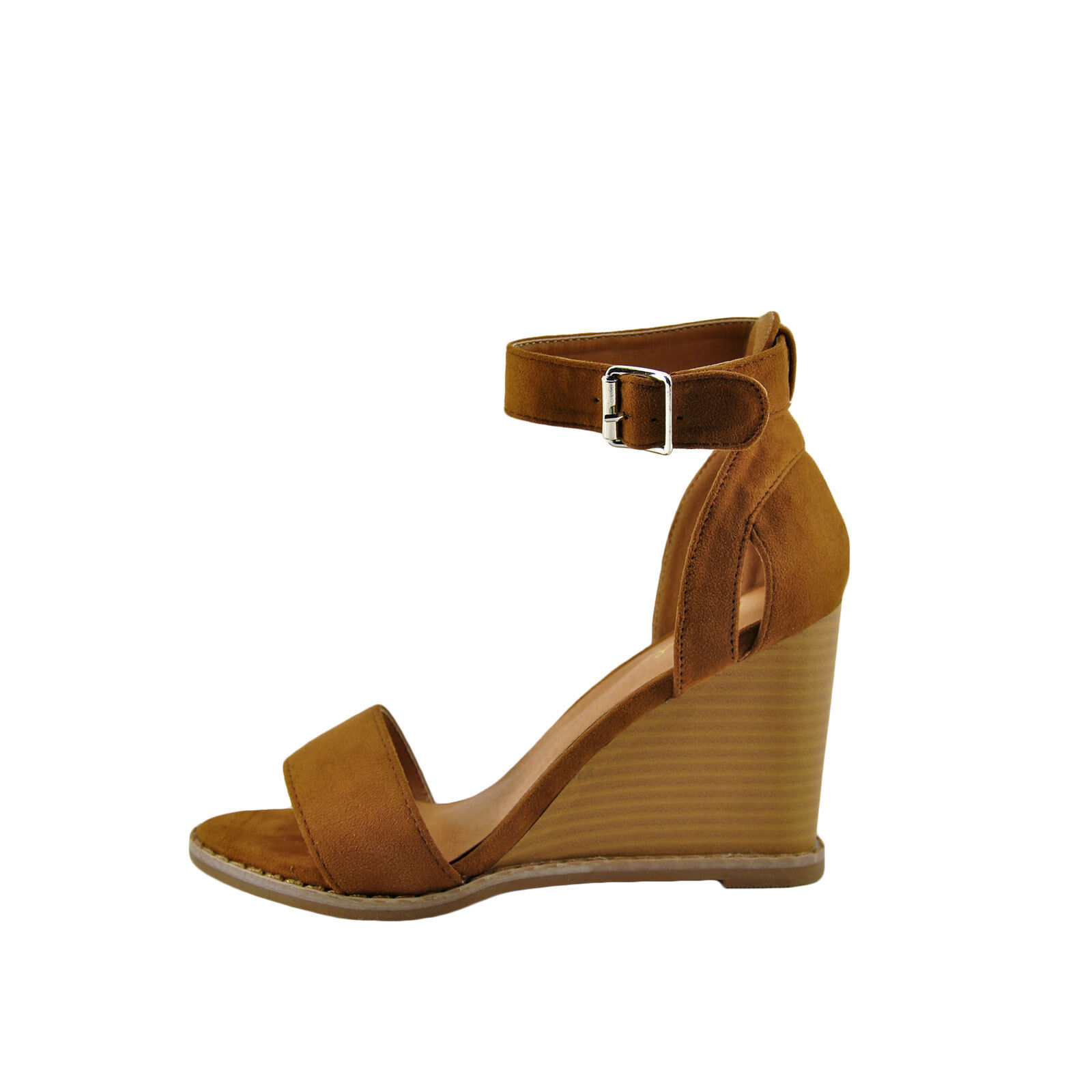 Qupid Finley 01 Camel Women's Open Toe Ankle Strap Stacked W