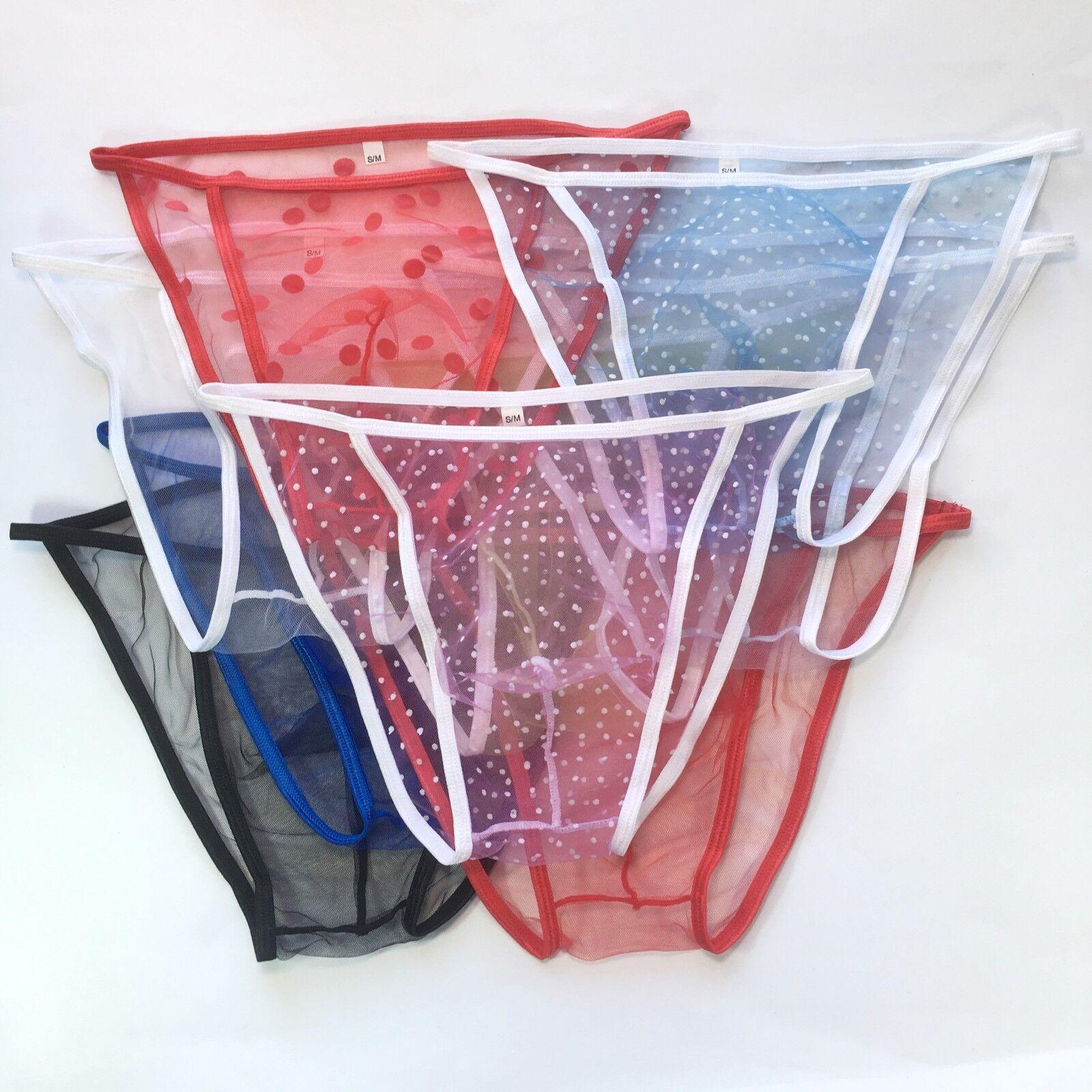 K3429 K342 Mens String Bikini Contoured Pouch stretchy C-thru Sheer Mesh Tulle
