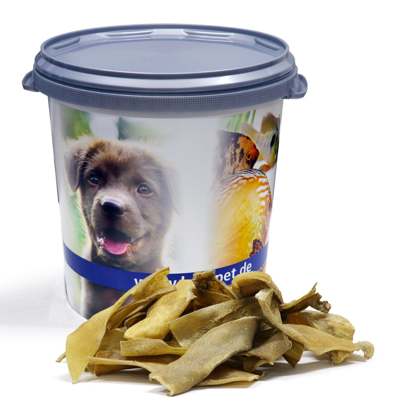 10 kg Rinderkopfhaut goldbraun Kaustreifen Hundefutter Lyra Pet® in 30 L Tonne