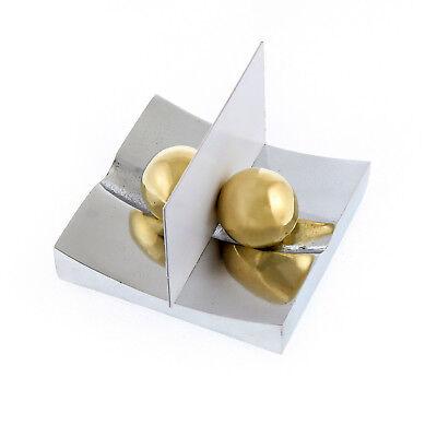 Modern Business Card Holder Handmade Of Solid Aluminum Brass Desk Accessory