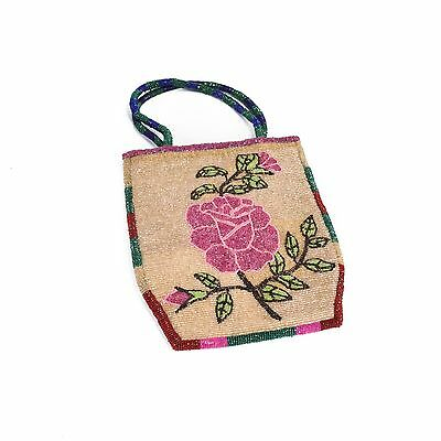 Nez Perce 2-sided flatbag with beaded handles floral