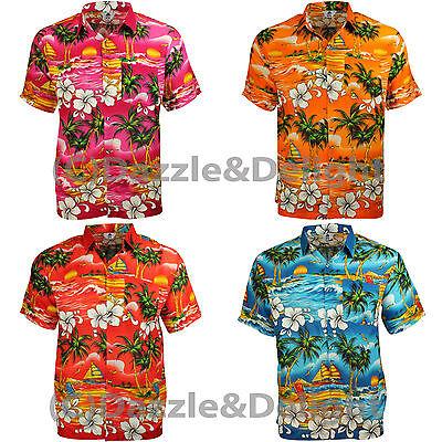 HAWAIIAN SHIRT PARTY FANCY DRESS S XL XXL FLOWER PALM BEACH STAG COTTON FEEL L