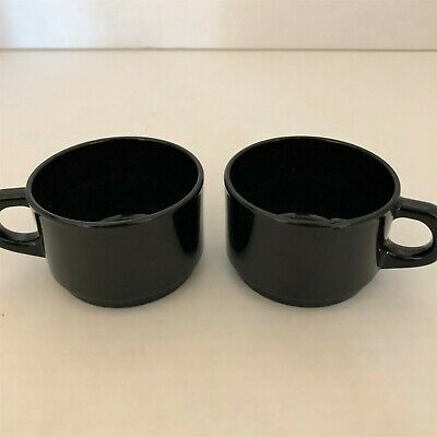 """Two Black Demitasse or Espresso Cups 1-1/2"""" High and 2-1/2"""" Diameter."""