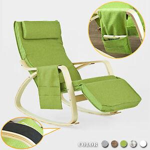 sobuy rocking chair fauteuil bascule avec repose pieds r glable fst18 gr fr ebay. Black Bedroom Furniture Sets. Home Design Ideas