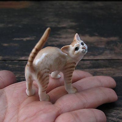 Yellow-Gold Colored Cat Figurine Cats Ceramic Cat Pottery Animals Collection