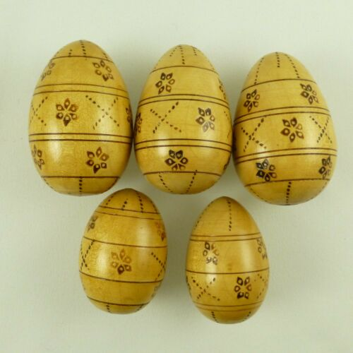 Vintage Solid Natural Wood Easter Eggs Pyrography Design Pisanka Style Lot of 5