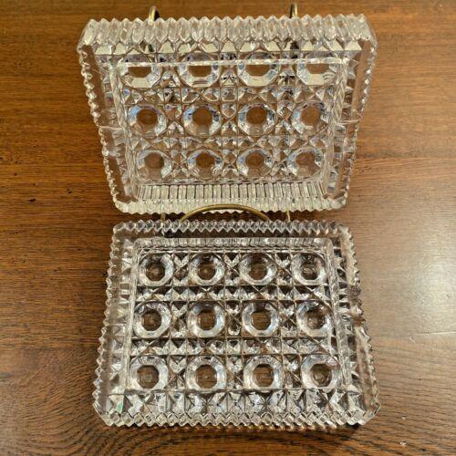 Vintage Imperial Mfg. Glass Crystal Rectangular ASHTRAYS Set (2) #1961 / 135