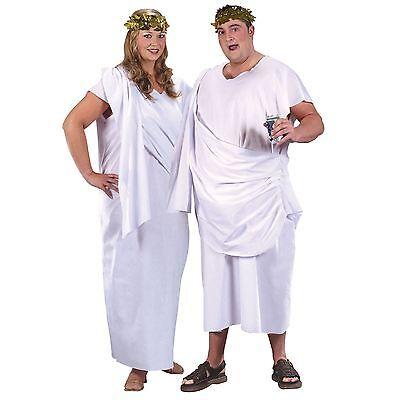 Damen Herren Grichischer Ägyptisch Toga Übergröße bis zu 152cm Brust Weißes