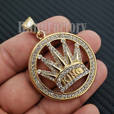 STAINLESS STEEL GOLD PT ICED OUT LAB DIAMOND CROWNED KING MEDAL CHARM PENDANT