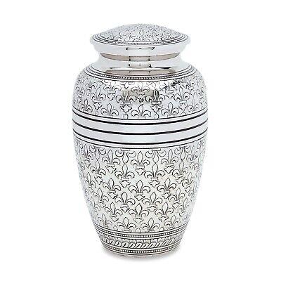 Silver Fleur De Lis Adult Cremation Urn
