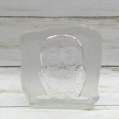 Vintage Art Glass OWL Block Sculpture Paperweight ~ Clear & Frosted