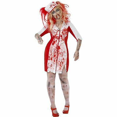Curves Zombie Nurse Halloween Horror Scary Womens Ladies Fancy Dress - Scary Nurse Costume Halloween