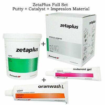 Dental Zhermack Zetaplus Impression Putty 900ml Oranwash 140ml Catalyst Gel 60ml