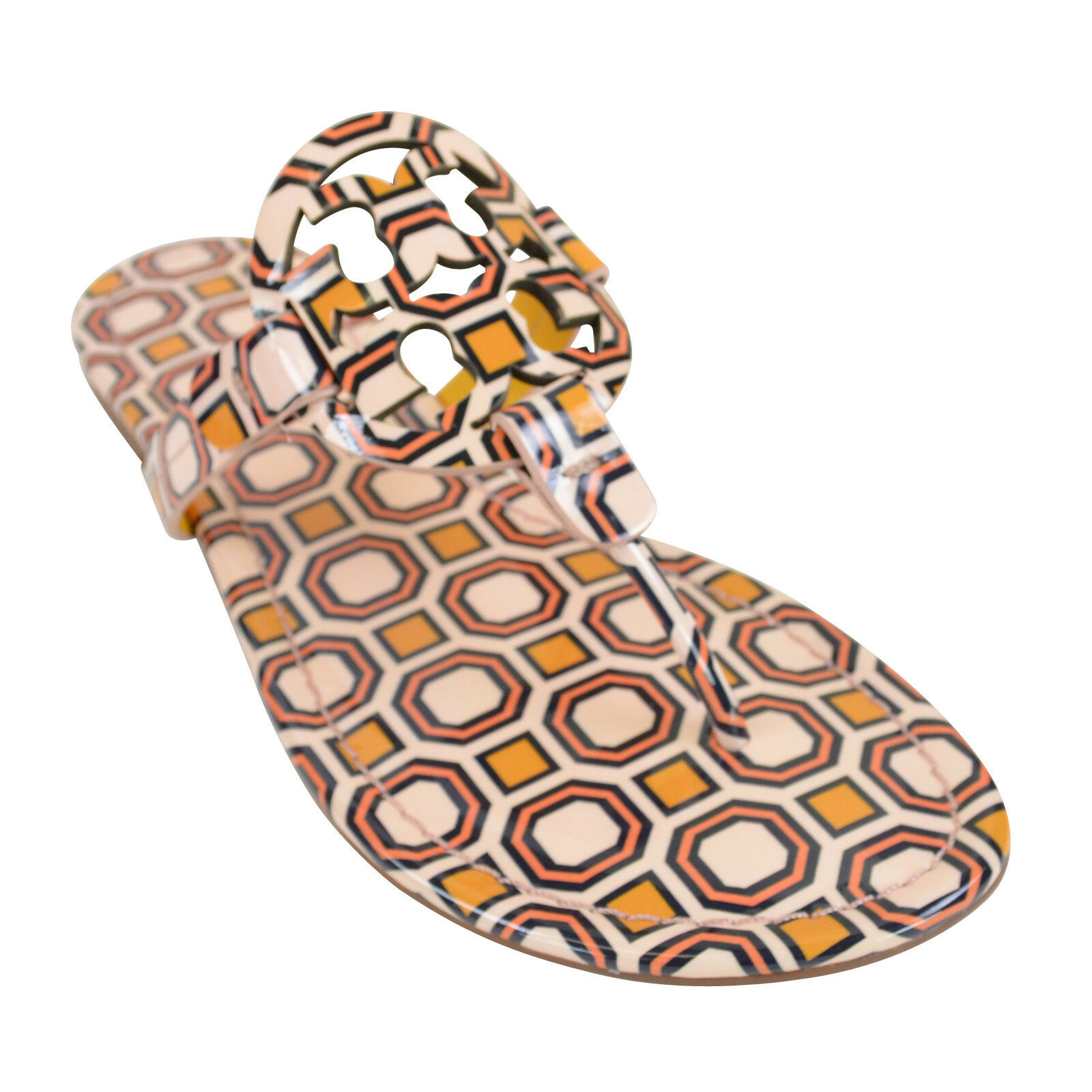 b93cf7ddfa9e Details about Tory Burch Women s Miller Leather Thong Sandals PRINTED  BALLET PINK OCTAGON