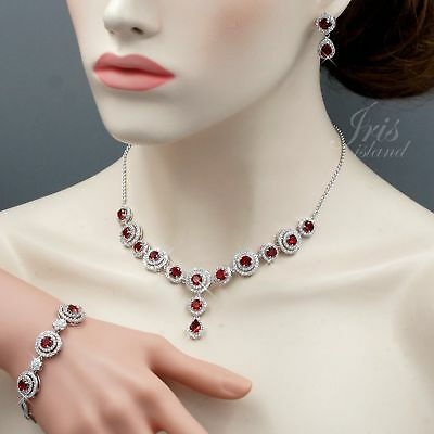 White Gold GP Ruby Cubic Zirconia Necklace Bracelet Earrings Jewelry Set Gift 78