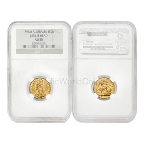 Australia 1893M Jubilee Head Soveroign Gold NGC AU55