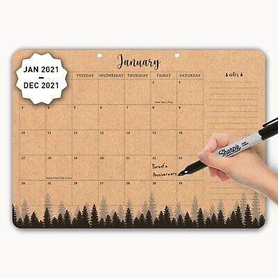 Mudrit 2021 Deskwall Yearly Calendar Large Kraft Pages 12 X 17 Monthly Planner