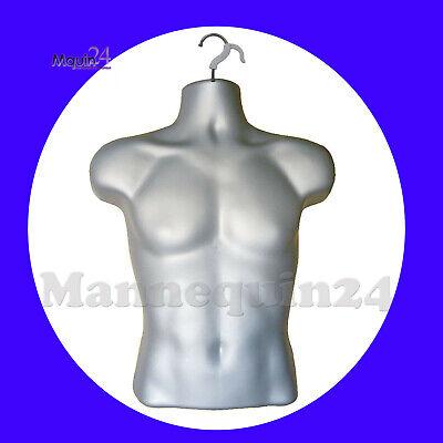 Men Hanging Dress Form Male Mannequin Torso Body Form Display - Grey Silver