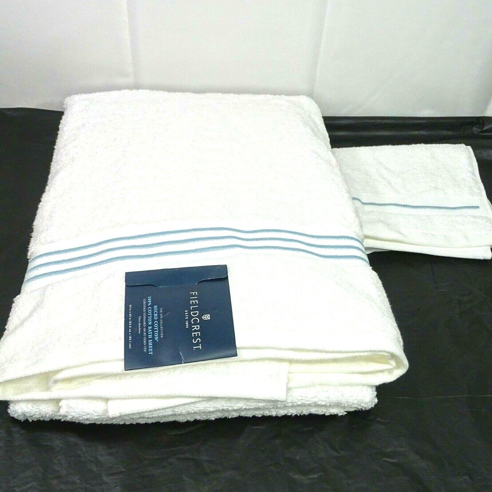 2 Pc Fieldcrest Spa Washcloth and Bath Sheet Towel White Aqu