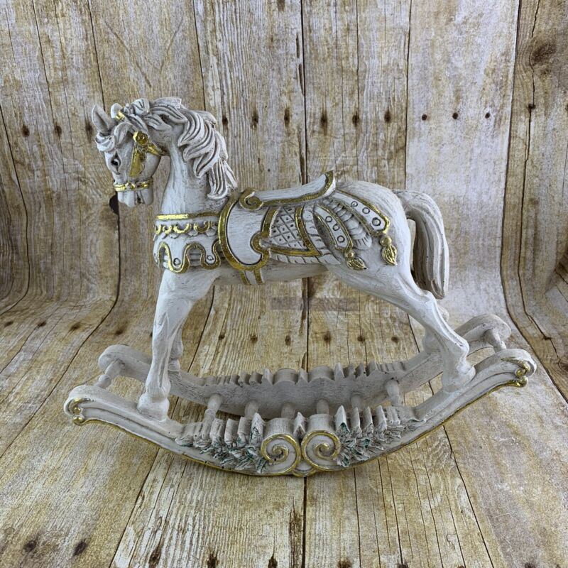 Rocking Horse Figurine Vintage Home Christmas Holiday Decor White Gold