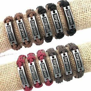 12pcs-Fashion-color-mixing-Genuine-Leather-Hemp-034-forgiven-034-pendant-Bracelets