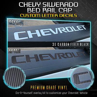 Vinyl Bed Rail - Bed Rail Cap Vinyl Decal Fit 2014-2018 Chevrolet Silverado - Matte Carbon Fiber