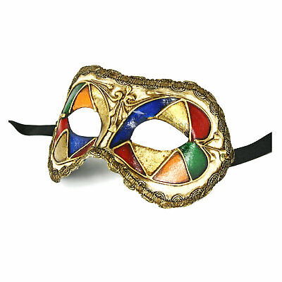 Authentic Made in Italy Venetian Columbina Mask Jester Decor Prom Mardi Gras
