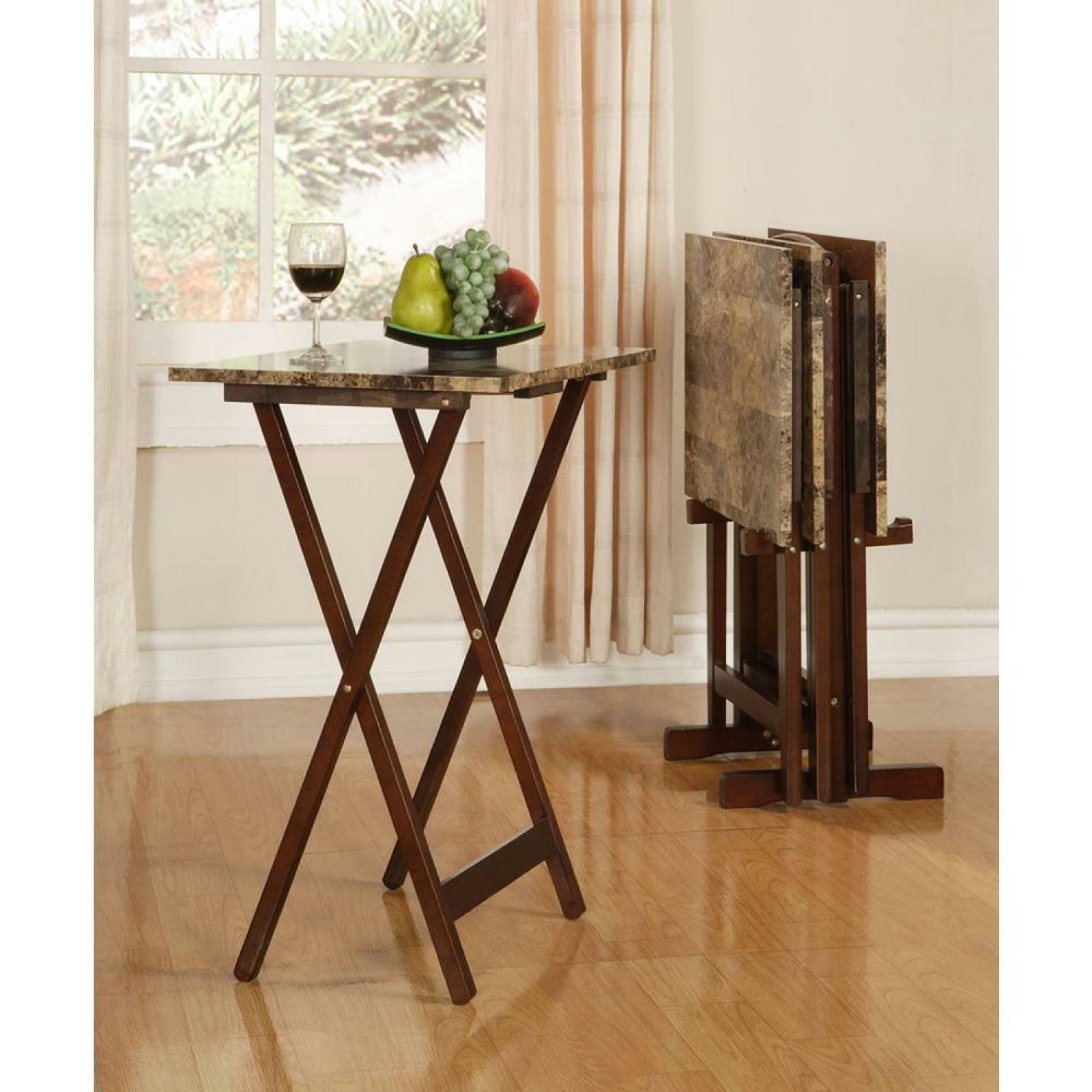Details About Tray Table Set Faux Marble Brown Tv Dinner Living Room Folding Linon Home Decor