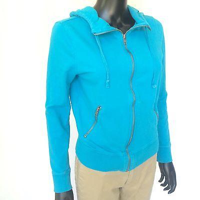 Forever Womens Zip Hoodie (Forever Twentyone 21 Womens Sweater Size Medium Teal Hoodie Sweat Shirt M Zip Up)
