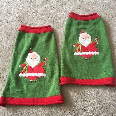 "Pair Matching Dog Pet Santa Green Christmas Sweaters sz Small S 11"" L"